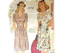 Vintage 1940s Day Dress Pattern Bust 30 by VtgSewingPatterns, $6.25