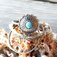 """Concho and Opal"" Handmade Sterling Silver Stacking Ring Set – TURQUOISE OVER DIAMONDS"