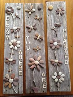 Shared with Shoebox - Unlimited Free Photo Backup crafts crafts crafts para vender crafts Driftwood Crafts, Seashell Crafts, Beach Crafts, Stone Crafts, Rock Crafts, Rock Flowers, Art Flowers, Rock And Pebbles, Rock Design
