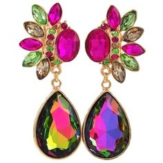 """New Clip On Earrings Colorful AB Crystal Gold Plated 2.12"""" Long Nicely... ($21) ❤ liked on Polyvore featuring jewelry, earrings, crystal clip earrings, crystal earrings, crystal jewelry, multi colored earrings and tri color earrings"""