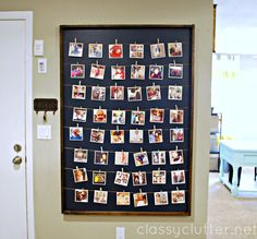 """#MayBeAFunProject - DIY """"Instagram Style"""" photo wall - I would glue the clothespins in place so my photos lined up."""