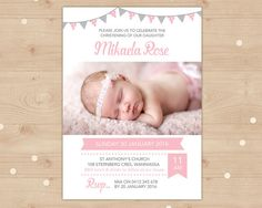 Girls Christening invitation with bunting // I customise for you to print // Personalised with photo // pink and grey bunting Christening Invitations Girl, Girl Christening, Dedication Ideas, Baby Dedication, Baptism Party, Baptism Ideas, Baby Party, Naming Ceremony, Name Day