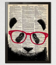 Smart PANDA Bear Wearing Glasses Animal by PatricianPrints on Etsy