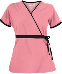 Butter Soft Women's Mock Wrap Scrub Top with Side Drawstring Tie by UA Scrubs features solid contrasting trim for a fashionable appearance. Medical Uniforms, Work Uniforms, Dental Life, Uniform Advantage, Nursing Clothes, Scrub Tops, Hair Designs, Work Fashion, Refashion