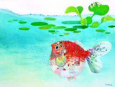 goldfish...hand-embroidered illustration y Kimika Hara