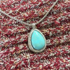 Large Turquoise Teardrop Pendant Necklace This piece offers the bold woman a bold statement, certainly not for the faint at heart.  Commands attention and stunning when worn with anything. Ocean Jewelers Jewelry Necklaces