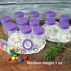 "24 Pill Jars 2+"" tall Screw on Purple Cap 1 ounce Favor Size Container  3812 USA #Decojars"