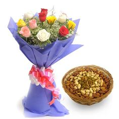 Check out our New Product  Best Wishes-Diwali No Flower COD Bunch of 12 long stem Mix colour roses in a paper packing. And 500gm Mix dryfruit basket.  Rs.1,285