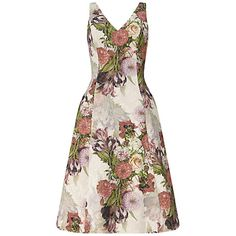Buy Adrianna Papell Sleeveless V-Neck Dress With Pleats, Rose/Multi Online at johnlewis.com