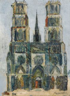 Maurice Utrillo (French, Great Cathedral or Orleans Cathedral, 1913 Oil on plywood, 72 x 54 cm Maurice Utrillo, Montmartre Paris, Sketchbook Drawings, Art Thou, Building Art, Great Paintings, Famous Art, Art Of Living, Impressionist