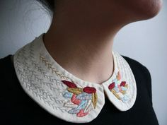 Grey, apricot, beige and burgundy feathers embroidered necklace. Peter pan collar. Gift for her.