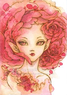 Open Edition ACEO Print  2.5 x 3.5 Rose Fairy II  by AuroraWings