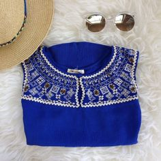 Cobalt Embroidered Beaded Crop Top Cobalt blue sleeveless embroidered and beaded crop top in perfect condition, worn only once. Perfect for summer! Francesca's Collections Tops Tank Tops