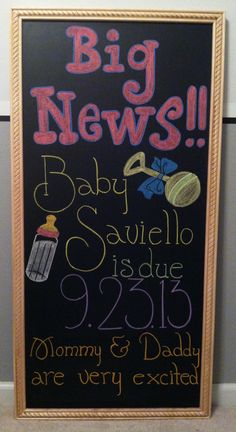 Pregnancy announcement pregnancy chalkboard