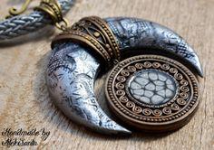 Moon pendant necklace Statement necklace Statement pendant Statement jewelry Polymer clay jewelry for women Silver pendant Silver necklace