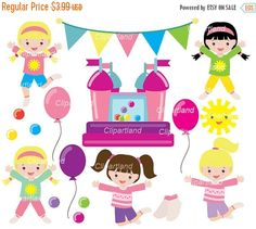 ON SALE INSTANT Download. Cb_2_Bounce_house. Bounce house clip art. Personal and commercial use.