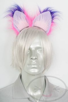 Fluffy Movie Cheshire Cat Ear and Tail Set Cosplay, Accessories, Costume Toddler Cat Costume, Baby Cat Costume, Cat Costume Makeup, Cheshire Cat Halloween, Cheshire Cat Costume, Pet Costumes For Dogs, Black Cat Costumes, Pink Cat, Pink Purple