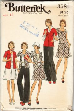 Butterick 3581 Vintage 70s Women Sweater Top Skirt Pants Sewing Patterns Miss 14 - Moderate Stretch