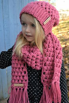 Hand Crocheted Scarf & Hat Set for Kids Toddlers Crochet Kids Scarf, Hand Knit Scarf, Crochet Beanie, Crochet Scarves, Crochet Yarn, Easy Crochet, Crocheted Scarf, Knit Cowl, Crochet Granny