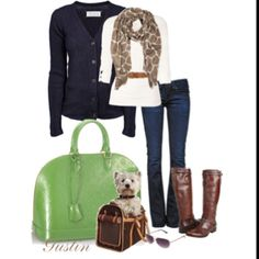 Like the bright bag and patterned scarf.