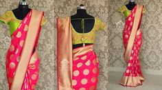 Color - Deep Rose pink Blouse Fabric - Pink silk unstitched Embroidery shown in the image can be made available at an additional cost Price 6500 Rs Mail to varunigopen@gmail.com 06 June 2016