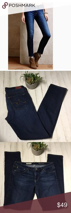 """AG the Stevie slim straight jean Excellent condition, darker wash with light factory fading and wiskering, gold stitching, 5 pocket design, some stretch. Measured flat: 15.5"""" waistband  17.5"""" hips  8"""" rise  30.5"""" inseam Ag Adriano Goldschmied Jeans"""