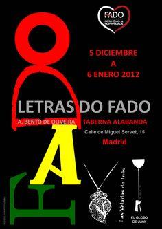"""""""Lyrics of Fado"""" Exhibition in Madrid Poster / Cartel de la Exposición """"Letras do Fado"""" en Madrid. Exhibition held at Sala Alabanda. Madrid, Spain"""