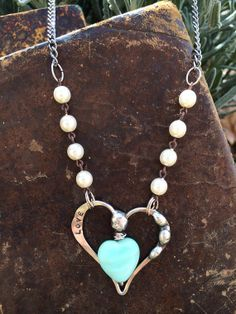Hand Forged and Soldered Heart Necklace Stamped by TheRustyOwls, $38.00