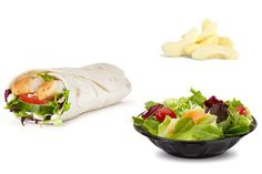 Sweet Chicken Chili Wrap, Side Salad, Apple Slices - Nutritionists At McDonald's Healthy Mcdonalds Options, Healthy Recipes, Sweet Chili Chicken, Chicken Wraps, Apple Slices, Side Salad, Fresh Rolls, Nom Nom, Nutrition