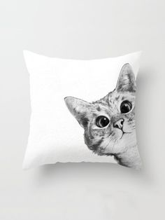 Sneaky Cat Couch Throw Pillow by Laura Graves - Cover x with pillow insert - Indoor Pillow Down Pillows, Floor Pillows, Cat Couch, Sneaky Cat, Cat Bedroom, Cat Pillow, Cushion Pillow, Freundlich, Designer Throw Pillows