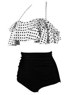 51c347da9ed06 Women's Retro Falbala High Waist Bikini Set Top Bottom Swimsuit Bathing  Suits - White-black Dot - CM1898OU6K0