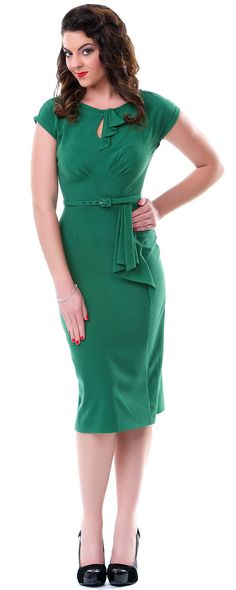 This is so me... Stop Staring Green Timeless Fitted Wiggle Dress - Unique Vintage - Pinup, Holiday & Prom Dresses.