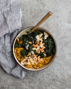 This is about as healthy as I get: turmeric rice with coconut kale #ontheblog #naturallyella #vegan #vegetarian