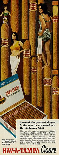 Vintage magazine ad, Hav-A-Tampa Cigars, with pretty young women, one in a… Pub Vintage, Vintage Humor, Vintage Posters, Funny Vintage, Hav A Tampa, Cuba Cigar, Cigar Art, Today's Man, Cigars And Whiskey