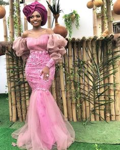 Latest Nigerian Lace Styles and Designs-Volume 15 They say a lot of ladies' best color is pink. Maybe this is because most mothers dress their babies in pink. Aso Ebi Lace Styles, African Lace Styles, Lace Dress Styles, African Lace Dresses, Latest African Fashion Dresses, African Dresses For Women, Ankara Styles, African Style, African Women