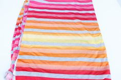 Pink Orange Yellow Multi Colored Ombre Stripe by felinusfabrics