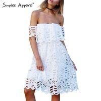 Simplee Vestuário Elegante ombro off white girl vestido de renda Das Mulheres sexy cintura alta vestido de noite vestido de festa de verão 2016 vestidos casuais