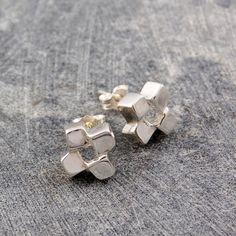 Squares Stud Earrings Silver