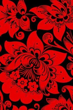 Folk Khokhloma painting from Russia. A traditional flower. #Russian #folk #art…