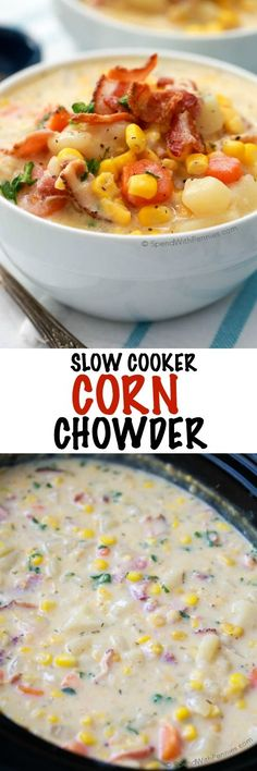 This easy Slow Cooker Corn Chowder simmers all day in the crockpot, and is ready to serve when you are ready to eat. Fresh vegetables, chunks of tender potato, and smoky bacon add so much flavor while the creamy corn base adds a touch of sweetness. The perfect cool weather soup!