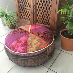 Unfilled 24 Inch Diameter Moroccan Style Pouffe Cover with Tuffet ...