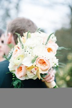 peach and white bouquet Photography by Brklyn View Photography / brklynview.com, florals by http://www.surroundingsflowers.com/ #Bouquets #Peach