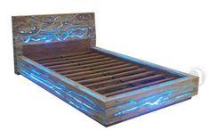 Eroded Teak Wood and LED Light