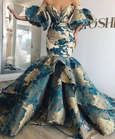 Long Mermaid Off Shoulder Arabic Lace Evening 2019 Saudi Arabia Dubai Moroccan Sexy Formal Prom Gowns African Prom Dresses, African Fashion Dresses, African Dress, Ankara Dress Styles, Dress Fashion, Style Fashion, Elegant Dresses, Pretty Dresses, Crazy Dresses