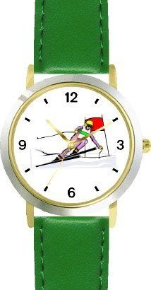 Downhill Alpine Giant Slalom Skier Snow Skiing - WATCHBUDDY® DELUXE TWO-TONE THEME WATCH - Arabic Numbers - Green Leather Strap-Children's Size-Small ( Boy's Size & Girl's Size ) WatchBuddy. $49.95
