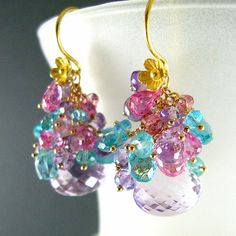 Pink Amethyst Apatite and Pink Topaz Gold Filled Earrings