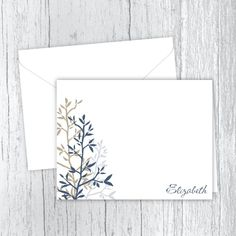 Blue & Tan Twigs - Personalized Printed Note Cards Web Address, Small Letters, Personalized Note Cards, White Envelopes, Card Stock, I Shop, Birthday Gifts, Great Gifts, Notes