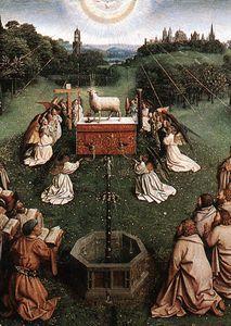 Le Retable de Gand Adoration de l Agneau (centre de détail) - (Jan Van Eyck)