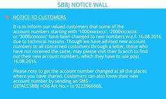 SBBJ Notice Wall The account numbers starting with '1000xxxxxxx', '2000xxxxxxx'  or '3000xxxxxxx' have been changed to new numbers w.e.f. 16.08.2016 due to technical reasons. Please visit your branch to find out your new account numbers, which you need to use post 16.08.2016.  Customers can also know their new  account number by sending an SMS - GETACCSBBJ <Old A/c No.> to 9223966666.  www.sbbjbank.com Accounting, How To Find Out, Numbers, Change, Wall, Business Accounting, Numeracy