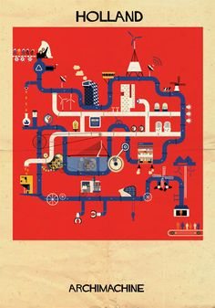 Barcelona artist Federico Babina turns a country's most famous buildings into complex contraptions.